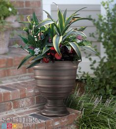 Resembling an 8th century goblet, the cup-like body of this urn will hold a bounty of various blossoms and edibles on a rounded-base pedestal. Southern Patio's CMX®️ line of planters creates a faux, ceramic-like appearance that is lightweight, durable and easily movable as you transport your urn from an outdoor environment to indoors. A rustic finish gives the planter an old world beauty and antique quality.