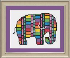 Stained glass elephant: cool elephant by nerdylittlestitcher