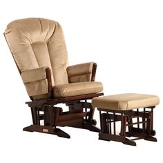 This Dutailier Ultramotion multi-position glider and ottoman set features a rich coffee finish and a polyester fabric upholstery. The chair in this set offers a reclining mechanism and thick cushions and padded arms to maximize your comfort.