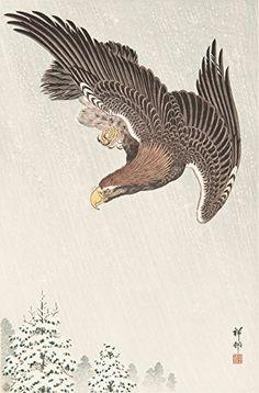 "Japanese Art Print ""An Eagle in a Snowstorm"" by Ohara Koson. Shin Hanga and Art Reproductions http://www.amazon.com/dp/B016ZA2V4G/ref=cm_sw_r_pi_dp_LKctwb00E97E6"