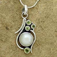 Pearl and peridot pendant necklace, 'Sublime India' from @NOVICA, They help #artisans succeed worldwide.