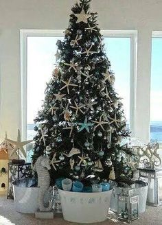 Christmas tree decorated with starfish & seahorses