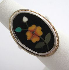 Antique Victorian PIETRA DURA RING  Micro Mosaic 800 Silver Floral Flower Inlaid by VintageFunkandFlair on Etsy https://www.etsy.com/listing/200244161/antique-victorian-pietra-dura-ring-micro