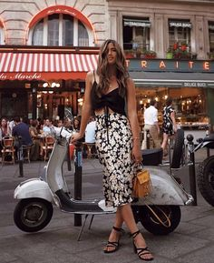 Three Quarter Satin Silk Sunflower Skirt Three Quarter Satin Silk Sunflower Skirt,Outfit Flowing Satin Silk skirt with hidden elastic waistband. Features a straight silhouette and natural waistline. Available at MyBoholy Europe Outfits, Paris Outfits, Summer Outfits, Italy Outfits, Boho Fashion, Fashion Outfits, Womens Fashion, Fashion Trends, Fashion Vintage