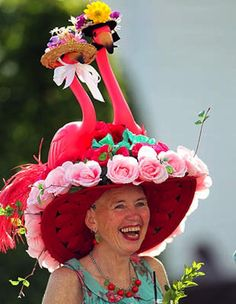 Kentucky Derby 2013: Over-the-top hats    Best part about this hat is that the flamingos are wearing hats, too!