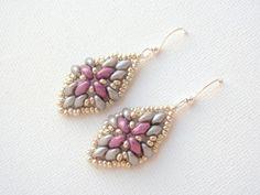 Beaded Earrings in Orchid Beadwoven Earrings by acbeadsjewellery