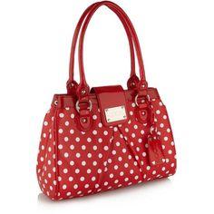 Red polka dot printed grab bag ($27) ❤ liked on Polyvore