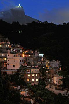 Christ Statue and Favela at night, Rio De Janeiro, Brazil