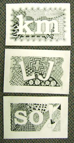 Enthusiastic Artist: letters doodled or zentangled  as negative space
