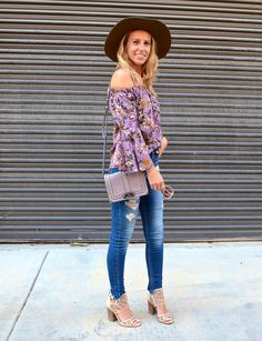 5 Styles to Keep for Fall - Jaclyn De Leon Style + purple floral off the  shoulder top + distressed denim + bohemian street style + fall outfit  inspiration + how to transition your wardrobe to the fall season + what  to wear in the fall + how to wear thi