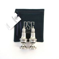 """Sterling silver salt and peppers stored in a 6"""" x 6"""" anti tarnish silver storage bag by Sherwood Silver Bags. Find it on Etsy. 1"""