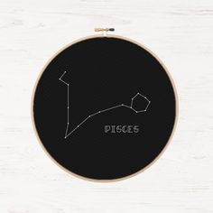 Pisces Cross Stitch Zodiac Pattern  Modern French Knot Pattern Astrology Zodiac Constellation Stars Instant Download PDF Science Crafts Gift - pinned by pin4etsy.com