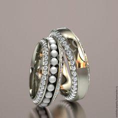 Купить Обручальные кольца с бриллиантами и микрожемчужинами - золотой, бриллианты, жемчуг, жемчуг натуральный, свадебные кольца