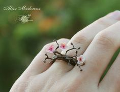 Sakura ring from polymer clay by Krinna.deviantart.com on @deviantART