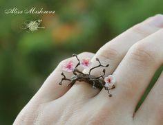 Sakura ring from polymer clay by Krinna.deviantart.com