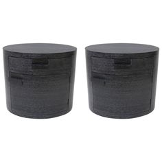 Pair of Oval Form Bedside Tables, Style of Jay Spectre in Cerused Black Oak 1