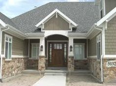 brown shake and stone house entry - Google Search
