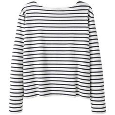 Wood Wood Adrian Stripe Longsleeve featuring polyvore, fashion, clothing, tops, sweaters, shirts, long sleeves, boat neck sweater, long sweaters, boat neck striped shirt, striped sleeve shirt and extra long sleeve shirts