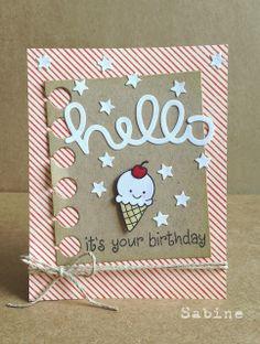 card icecream cone ice cream Lawn Fawn scripty hello Dreamed Up Designs: Hello, it's your birthday - scripty hello lawn fawn