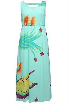 Mint Multi Butterfly Glitter Print Sleeveless Chiffon Maxi Dress
