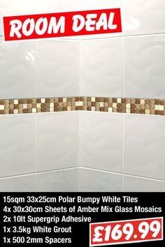 White Bathroom Border Tiles love the 3d wall art and the mosaic tile border in the shower