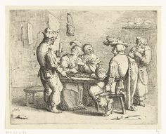 Andries Both | Drie boeren en een vrouw aan een tafel in een bordeel, Andries Both, c. 1622 - c. 1642 | In een bordeel zitten drie boeren met een dame aan een tafel grapjes te maken. Een bediende komt drank en eten brengen.