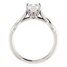 14kt White Princess Solitaire Forever Brilliant Moissanite Engagement Ring