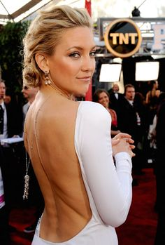 low back, long necklace for the back. Why can't I be Kate Hudson?
