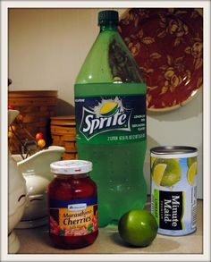 Sonic Cherry Limeade-Diy: 4 ingredients- 1 can frozen limeade concentrate- 1- 2 liter bottle Sprite- Juice from 1 10oz jar cherries- Fresh limes (optional)...click to see