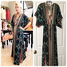 Elan Stunning relaxed fit Aztec print maxi dress! Gorgeous color in turquoise, red, yellow and gray- tie waist dolman flutter sleeves - split in front size small will fit S/M- fabulous! Elan Dresses Maxi