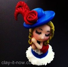 Customized cute mini figurine in Victorian Style dress.