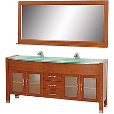 @Overstock.com - Wyndham Collection Daytona Cherry 71-Inch Solid Oak Double Bathroom Vanity - Update your bathroom with this modern classic double bathroom vanity from Daytona. This 71-inch vanity set features a cherry wood finish with three drawers and four doors for your storage needs. The set comes complete with a matching mirror.  http://www.overstock.com/Home-Garden/Wyndham-Collection-Daytona-Cherry-71-Inch-Solid-Oak-Double-Bathroom-Vanity/6423606/product.html?CID=214117 $1,589.00