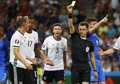 Schweinsteiger given a yellow card for the handball #EURO2016