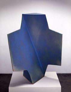 "John Mason [Spain/USA] {b 1927} ~ ""Cross Blue with Green"", 2004. Ceramic. | #art #sculpture #abstract #ceramic"