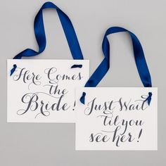 Two Wedding Signs Here Comes The Bride Just Wait Til You See | Etsy Rose Gold Ribbon, Navy Ribbon, Ribbon Colors, Funny Wedding Signs, Wedding Humor, Flower Girl Signs, Ring Bearer Signs, Second Weddings, Color Card