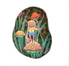 fantasy art on a rock - a goblin on a mushroom