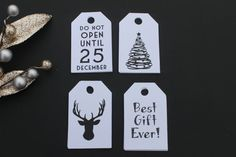 20 White Christmas Gift Tags - 3in x 1.875in - Do Not Open Until December 25, Best Gift Ever, Deer, Christmas Tree