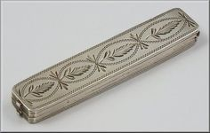 Early English Silver Needle Case w/Bright Cut Designs