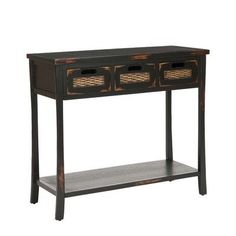 Safavieh American Home Collection Filton Distressed Black Three Drawer Console Table by Safavieh. Save 64 Off!. $178.99. Crafted of solid pine wood. The distressed black finish of this console table will add a timeless accent to your décor. Perfect for a living room, family room, den, library, or study. This table features three drawers measuring 9.1 inches wide by 13 inches deep by 4.7 inches high each.. Assembly required, this console table measures 34 inches wide by 14 inches deep by 30…
