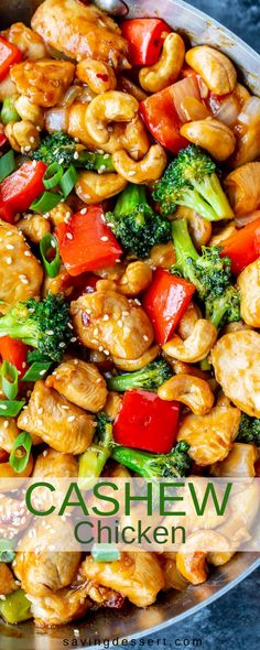 Honey Cashew Chicken - You'll love the sweet heat of this Asian-American inspired stir-fry loaded with tender chunks of chicken, red bell pepper, onions & tender broccoli. #savingroomfordessert #honeycashewchicken #cashewchicken #Asianstirfry #stirfry #chickenstirfry #chicken #Sriracha #cashew #dinner #weeknightmeal