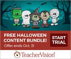Get a free bundle of #Halloween worksheets and activities from TeacherVision.  #freebies #printables