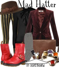 Mad Hatter from Alice in Wonderland inspired outfit by DisneyBound Disney Inspired Outfits, Themed Outfits, Disney Outfits, Disney Style, Cute Outfits, Disney Dresses, Mad Hatter Outfit, Mad Hatter Costumes, Disneybound Outfits