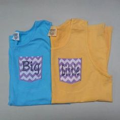 """Personalized Sorority """"BIG"""" """"little"""" Frocket Comfort Colors tank tops Embroidered Big Little Tanks with Appliqued Pocket Greek Tank Top. $36.00, via Etsy."""