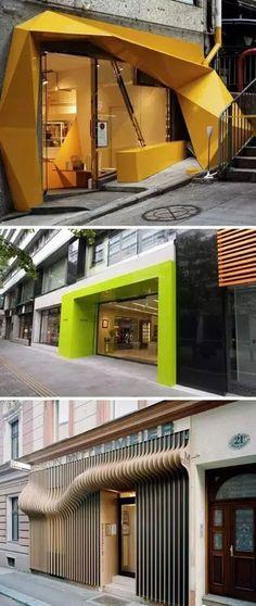 I love these entrances store facade design, shop front desig Design Entrée, Design Food, Facade Design, Store Design, Exterior Design, Retail Interior, Restaurant Interior Design, Vitrine Design, A As Architecture