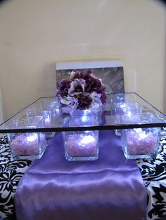 Very Special Events by V. Smith: DIY Wedding Page DIY cake stand, get small square vases from the dollar tree, fill them with any vase filler and lights. Get the glass on top from Hobby Lobby. Square Cake Stand, Cake And Cupcake Stand, Diy Cupcake, Wedding Cake Stands, Wedding Cakes, Decoration Buffet, Party Planning, Wedding Planning, Do It Yourself Wedding