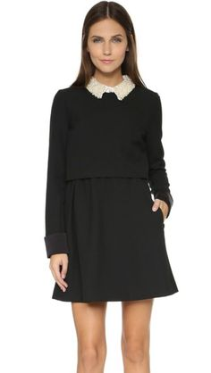 Bliss Beaded Collar Flare Dress
