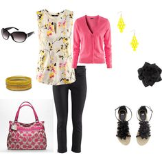 HM cute top and shoes, with a pretty pink Coach, created by hrc2a