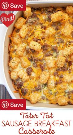 Tater Tot Sausage Breakfast Casserole - Read it  This Tater Tot Sausage Breakfast Casserole is great for breakfast lunch or dinner! It can be made ahead of time and refrigerated #delicious #diy #Easy #food #love #recipe #recipes #tutorial #yummy @mabarto - Make sure to follow cause we post alot of food recipes and DIY we post Food and drinks gifts animals and pets and sometimes art and of course Diy and crafts films music garden hair and beauty and make up health and fitness and yes we do…
