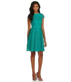 Adrianna Papell Illusion Neckline Lace Dress | Dillards.com