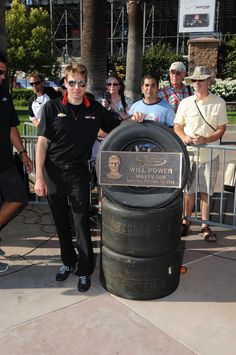 2014-INDYCAR driver Will Power and his MAVTV 500 Walk Of Fame plaque.